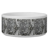 FAUX JEWELED DOG BOWL WHITE AND SILVER