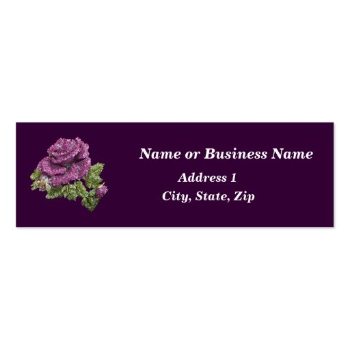 Faux Jeweled Rose Business Card