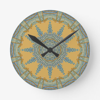 Faux Knit Greens Round Clock