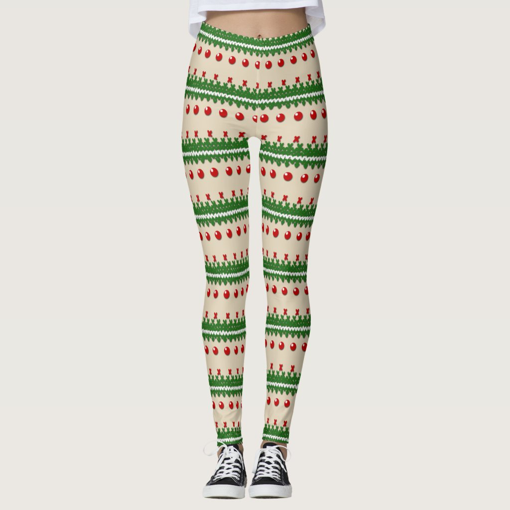 Faux Knitted Ugly Christmas Leggings