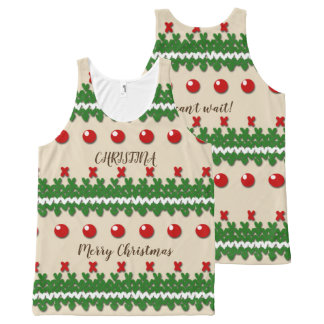 Faux Knitted Ugly Christmas Nostalgic Cream Design All-Over-Print Tank Top