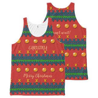 Faux Knitted Ugly Red Christmas Design All-Over-Print Tank Top