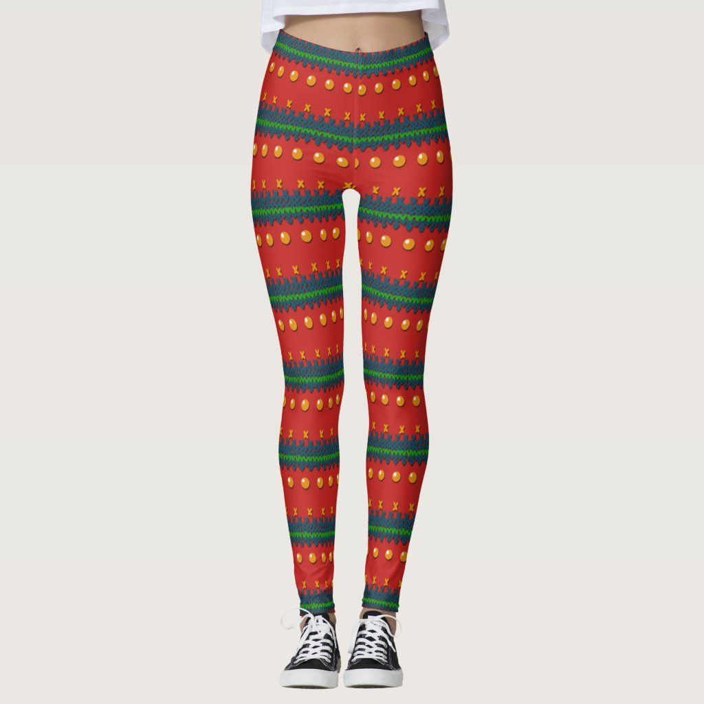 Faux Knitted Ugly Red Christmas Leggings