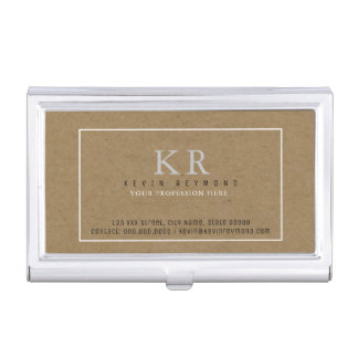 faux kraft brown presentation-card elegant business card holder