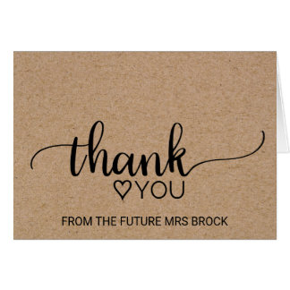Faux Kraft Calligraphy Bridal Shower Thank You Card