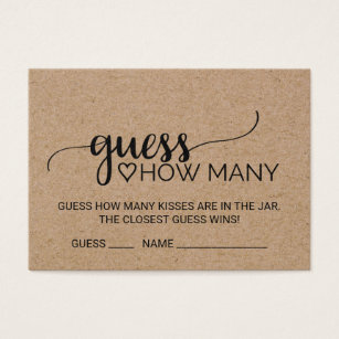 graphic relating to How Many Kisses for the Soon to Be Mrs Free Printable identified as Activity Card Bridal Wedding day Shower Products Zazzle