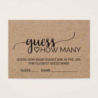 Faux Kraft Calligraphy Guess How Many Kisses Cards