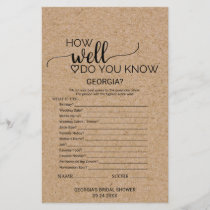 "Faux Kraft ""How Well Do You Know The Bride"" Game"