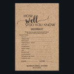 """Faux Kraft &quot;How Well Do You Know The Bride&quot; Game Flyer<br><div class=""""desc"""">This faux kraft &quot;how well do you know the bride&quot; game is perfect for a rustic or modern theme bridal shower. The front of the game card features &quot;how well do you know the bride&quot;, and the back of the card features &quot;what&#39;s in your purse&quot;. The minimalist design features an...</div>"""