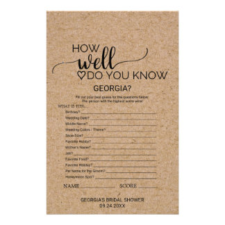 "Faux Kraft ""How Well Do You Know The Bride"" Game Flyer"
