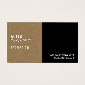 faux kraft paper / black elegant & modern prof business card