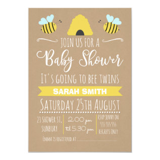 Faux Kraft Twins Busy Bee Baby Shower Invitation at Zazzle