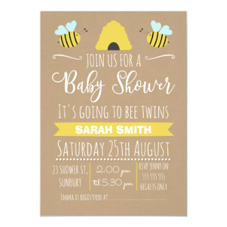 Faux Kraft Twins Busy Bee baby Shower Invitation