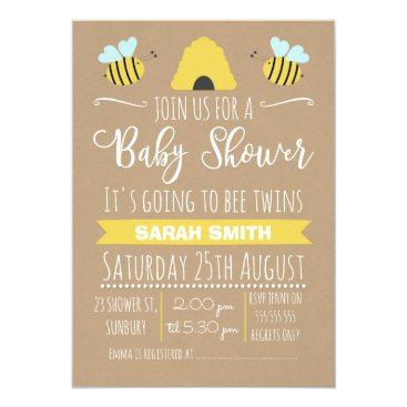 Professional Business Faux Kraft Twins Busy Bee baby Shower Invitation