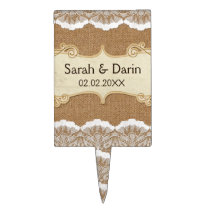 FAUX lace and burlap  personalized cake picks