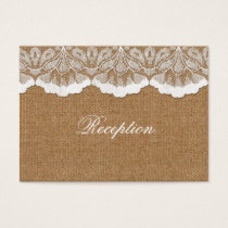 FAUX lace and burlap wedding Reception Cards