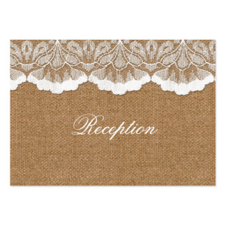 FAUX lace and burlap wedding Reception Cards Business Card Template