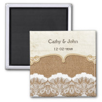 FAUX lace and burlap wedding save the date Magnet