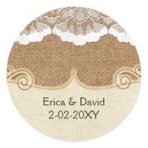 FAUX lace and burlap , wedding seals
