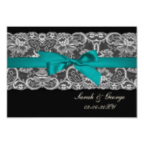 Faux lace and ribbon aqua , black  3.5 x 5 rsvp card
