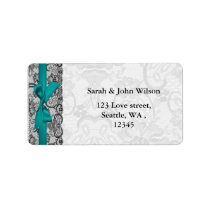 Faux lace and ribbon aqua, black  address labels