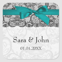Faux lace and ribbon aqua ,black  envelope seals