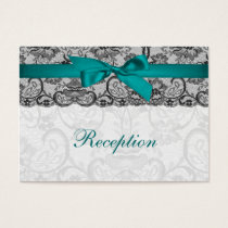Faux lace and ribbon aqua, black  reception cards