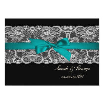 Faux lace and ribbon aqua, black  save the date card