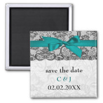 Faux lace and ribbon aqua, black  save the date magnet