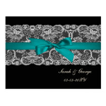 Faux lace and ribbon aqua, black  save the date postcard