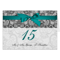 Faux lace and ribbon aqua black table number cards