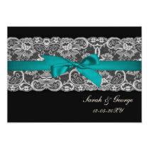 Faux lace and ribbon aqua , black  wedding invites