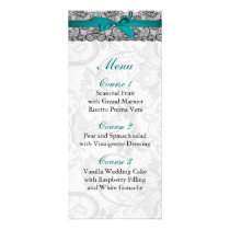 Faux lace and ribbon aqua ,black  wedding Menu