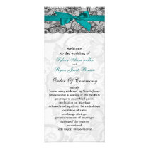 Faux lace and ribbon aqua, black  wedding programs