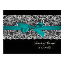 Faux lace and ribbon aqua, black  wedding rsvp postcard