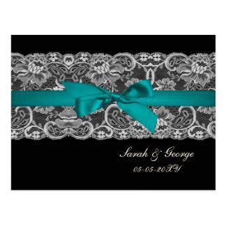Faux lace and ribbon aqua, black  wedding rsvp postcard