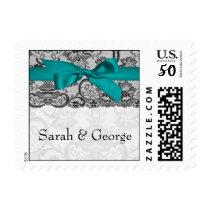 Faux lace and ribbon aqua , black  wedding stamps