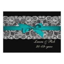 Faux lace and ribbon aqua black  wedding Thank You Card