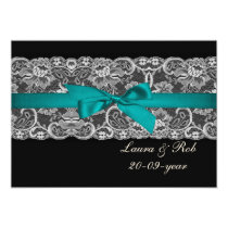 Faux lace and ribbon aqua black  wedding Thank You Card