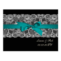 Faux lace and ribbon aqua,black  wedding Thank You Postcard