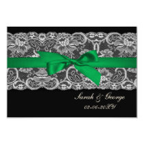 "Faux lace and ribbon ""emerald green""  3.5 x 5 rsvp card"