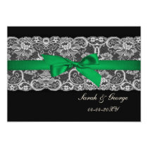 """Faux lace and ribbon """"emerald green"""" save the date card"""