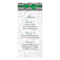 Faux lace and ribbon emerald green wedding Menu