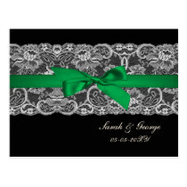 "Faux lace and ribbon ""emerald green"" wedding rsvp postcard"