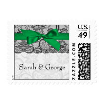 Faux lace and ribbon emerald green wedding stamps