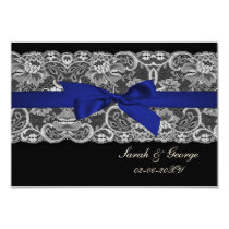 Faux lace and ribbon navy blue  3.5 x 5 rsvp card