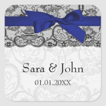 Faux lace and ribbon navy blue  envelope seals