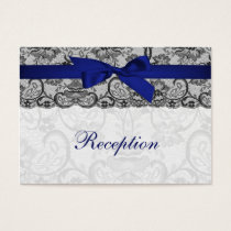 Faux lace and ribbon navy blue  reception cards