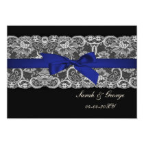Faux lace and ribbon navy blue save the date card