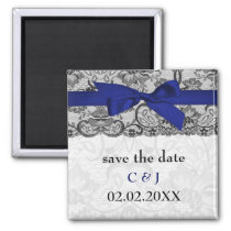 Faux lace and ribbon navy blue  save the date magnet